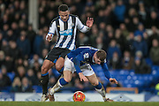 Ross Barkley (Everton) fouled by Jamaal Lascelles (Newcastle United) for the second penalty during the Barclays Premier League match between Everton and Newcastle United at Goodison Park, Liverpool, England on 3 February 2016. Photo by Mark P Doherty.