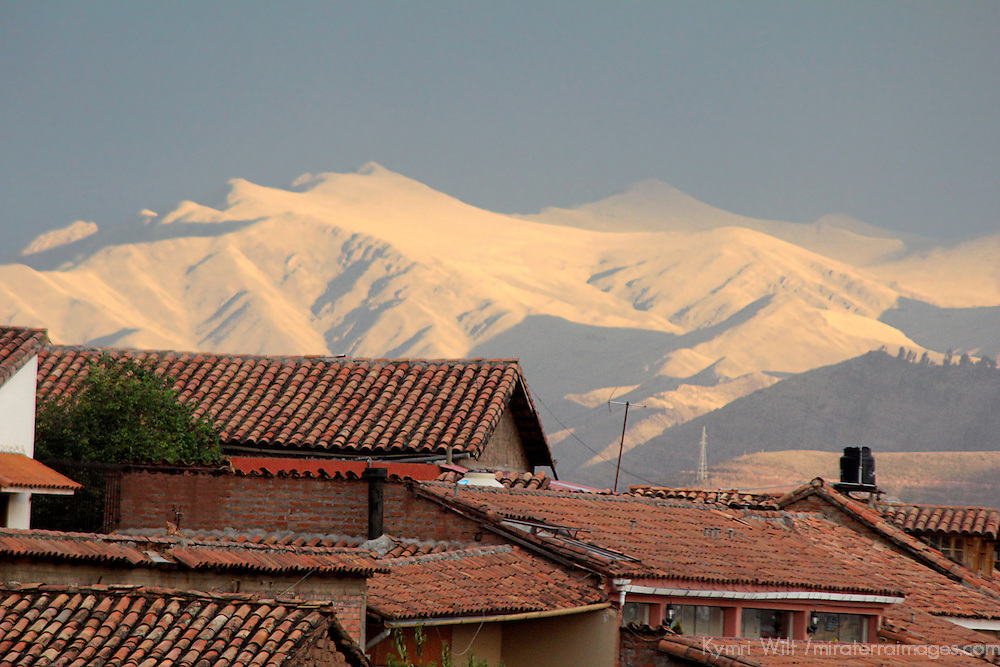 South America, Peru, Cusco. Rooftops and Mountains