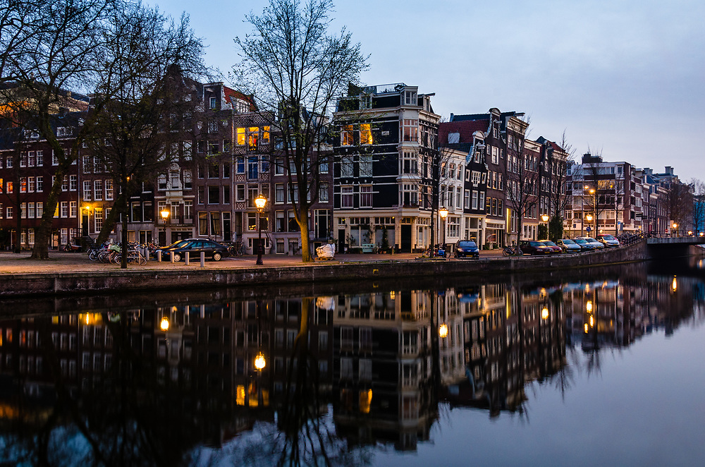 A quiet spring morning along the Nieuwe Herengracht in the Plantage neighborhood of Amsterdam.