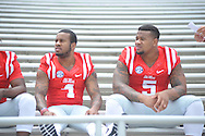 Ole Miss' Denzel Nkemdiche (4) and Robert Nkemdiche (5) during the team's media day, in Oxford, Miss. on Friday, August 1, 2014. Mississippi begins practice Saturday morning and opens the season against Boise State in Atlanta on August 28, 2014. (AP Photo/Oxford Eagle, Bruce Newman)