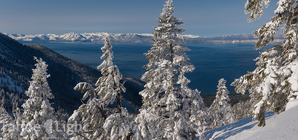 Lake Tahoe as viewed from Diamond Peak ski resort in Incline Village after a snow storm. High resolution panorama