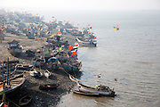 Fishing boats wait to go out to sea on the Indian west Coast.