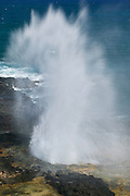 "Pacific Ocean waves shoot 50 feet into the air through a tiny hole in a lava shelf off on the Kauai coast known as the Spouting Horn blowhole. It sounds like a whale breathing, but Hawaiian legend says the sound is actually the ""lizard woman"" moaning. She would attack anyone who got too close. One day she chased a fisherman into a lava tube. He escaped; she's still stuck."