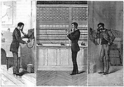 Telephone: man on left is making call which passes through the operator at the exchange, centre, to recipient on the right. Ader system. Engraving published Paris 1881.