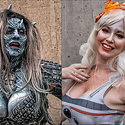 Cosplay attendee Gogo Incognito in her costume, The Night's King  The Game of Thrones and from BB8 from Star Wars.<br /> <br /> Cosplay, a contraction of the words costume play, is a performance art in which participants called cosplayers wear costumes and fashion accessories to represent a specific character.<br /> <br /> Cosplayers often interact to create a subculture and a broader use of the term &quot;cosplay&quot; applies to any costumed role-playing in venues apart from the stage. Any entity that lends itself to dramatic interpretation may be taken up as a subject and it is not unusual to see genders switched. Favorite sources include manga and anime, comic books and cartoons, video games, and live-action films and television series.<br /> <br /> The New York Comic Con convention, is a celebration of comic books, graphic novels, sci-fi and video games, toys, movies and television. The convention brings together celebrities as well as fans of fantasy role playing, Comic-Con is the business of pop culture.