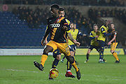 Bradford City striker Jordy Hiwula (11) steps over the ball 0-0 during the EFL Trophy match between Oxford United and Bradford City at the Kassam Stadium, Oxford, England on 31 January 2017. Photo by Alan Franklin.