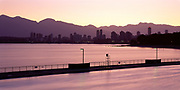 Kits Pool, Skyline and Stanley Park at sunrise