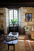 Salon in French hotel, Hostellerie Les Griffons, in Bourdeilles near Brantome in Northern Dordogne, France