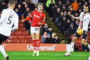 Brad Potts of Barnsley (20) sees his shot blocked during the EFL Sky Bet League 1 match between Barnsley and Charlton Athletic at Oakwell, Barnsley, England on 29 December 2018.