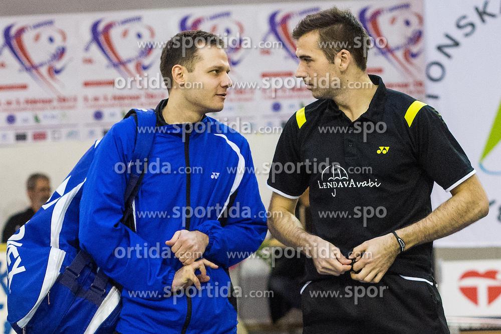 Iztok Utrosa of BK Mladost and Luka Petric of BK Branik during 56th Slovenian national championship in badminton on Februar  3, 2013 in Zg. Kungota, Slovenia. (Photo By Grega Valancic / Sportida)