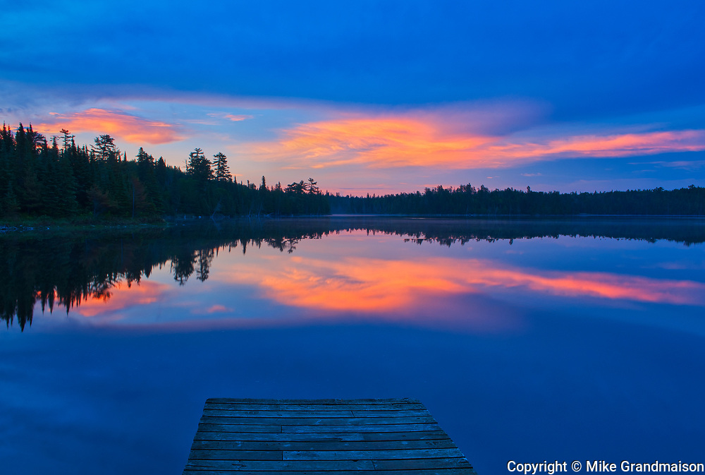 Dock and Lyons Lake at dawn<br />Whiteshell Provincial Park<br />Manitoba<br />Canada