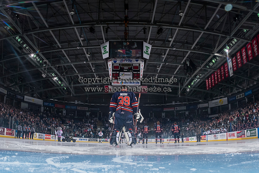 KELOWNA, CANADA - MARCH 31: Connor Ingram #39 of the Kamloops Blazers stands on the ice during the national anthem against the Kelowna Rockets on March 31, 2017 at Prospera Place in Kelowna, British Columbia, Canada.  (Photo by Marissa Baecker/Shoot the Breeze)  *** Local Caption ***