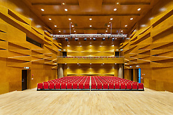 Concert hall auditorium, with rows of seats. Heino Eller's Tartu Music School in Estonia.
