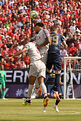 July 28, 2018 - Ann Arbor, MI, U.S. - ANN ARBOR, MI - JULY 28: Liverpool Defender Virgil Van Dijk (4) beats Manchester United Midfielder Scott McTominay (39) and Liverpool Defender Fabinho (3) to the ball in the first half of the ICC soccer match between Manchester United FC and Liverpool FC on July 28, 2018 at Michigan Stadium in Ann Arbor, MI (Photo by Allan Dranberg/Icon Sportswire) (Credit Image: © Allan Dranberg/Icon SMI via ZUMA Press)