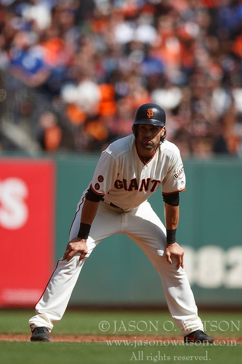 SAN FRANCISCO, CA - OCTOBER 02: Angel Pagan #16 of the San Francisco Giants leads off second base against the Los Angeles Dodgers during the third inning at AT&T Park on October 2, 2016 in San Francisco, California. The San Francisco Giants defeated the Los Angeles Dodgers 7-1. (Photo by Jason O. Watson/Getty Images) *** Local Caption *** Angel Pagan