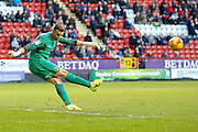 Charlton Athletic goalkeeper Declan Rudd (1) kicks clear during the EFL Sky Bet League 1 match between Charlton Athletic and Fleetwood Town at The Valley, London, England on 4 February 2017. Photo by Andy Walter.