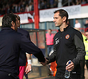 Dundee manager Paul Hartley  shakes hands with Dundee United boss Jackie McNamara - Dundee v Dundee United, SPFL Premiership at Dens Park<br /> <br />  - &copy; David Young - www.davidyoungphoto.co.uk - email: davidyoungphoto@gmail.com