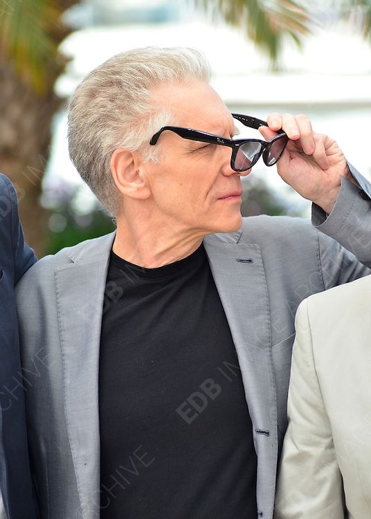 25.MAY.2012. CANNES<br /> <br /> DAVID CRONENBERG AT THE COSMOPOLIS PHOTOCALL DURING THE 65TH CANNES FILM FESTIVAL, CANNES, FRANCE.<br /> <br /> BYLINE: JOE ALVAREZ/EDBIMAGEARCHIVE.CO.UK<br /> <br /> *THIS IMAGE IS STRICTLY FOR UK NEWSPAPERS AND MAGAZINES ONLY*<br /> *FOR WORLD WIDE SALES AND WEB USE PLEASE CONTACT EDBIMAGEARCHIVE - 0208 954 5968*