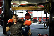 Gleason's Gym, Dumbo, Brooklyn, New York.Golden Glove Boxer Adam Kownacky (20) 235 pounds ..