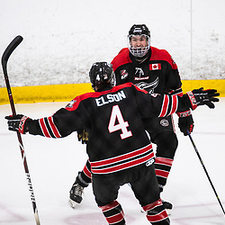 TORONTO, ON - APR 10, 2018: Ontario Junior Hockey League, South West Conference Championship Series. Game seven of the best of seven series between the Georgetown Raiders and the Toronto Patriots, Andrew Cordssen-David #7 of the Georgetown Raiders celebrates a goal scored with Zac Elson #4 of the Georgetown Raiders during the first period.<br /> (Photo by Kevin Raposo / OJHL Images)