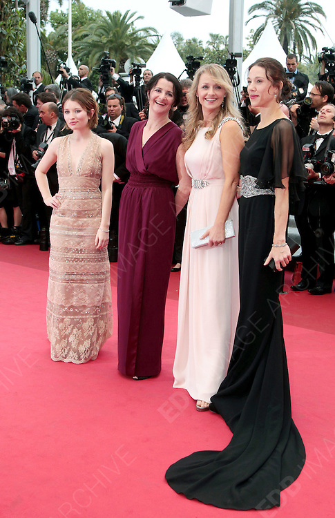 12.MAY.2011. CANNES<br /> <br /> EMILY BROWNING, JULIA LEIGH, RACHAEL BLAKE AND JESSICA BRENTNALL ARRIVING ON THE RED CARPET FOR THE SLEEPING BEAUTY PREMIERE AT THE 64TH CANNES INTERNATIONAL FILM FESTIVAL 2011 IN CANNES, FRANCE.<br /> <br /> BYLINE: EDBIMAGEARCHIVE.COM<br /> <br /> *THIS IMAGE IS STRICTLY FOR UK NEWSPAPERS AND MAGAZINES ONLY*<br /> *FOR WORLD WIDE SALES AND WEB USE PLEASE CONTACT EDBIMAGEARCHIVE - 0208 954 5968*