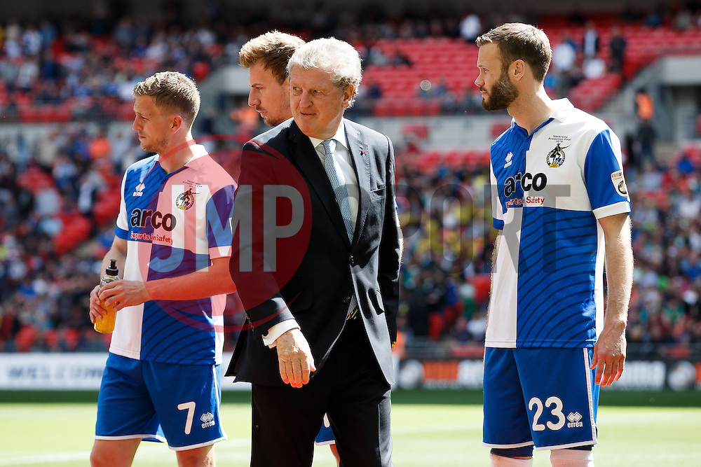 England Football Manager Roy Hodgson looks on as he welcomes the Bristol Rovers players - Photo mandatory by-line: Rogan Thomson/JMP - 07966 386802 - 17/05/2015 - SPORT - FOOTBALL - London, England - Wembley Stadium - Bristol Rovers v Frimsby Town - Vanarama Conference Premier Play-off Final.