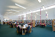 Library interior, daytime