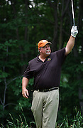 Jun 26, 2006; Gaylord MI; Craig Stadler acknowledges the gallery applause after his tee shot on the 5th hole gets closest to the pin  during the ING Par-3 Shootout at Treetops Resort in Gaylord Michigan.