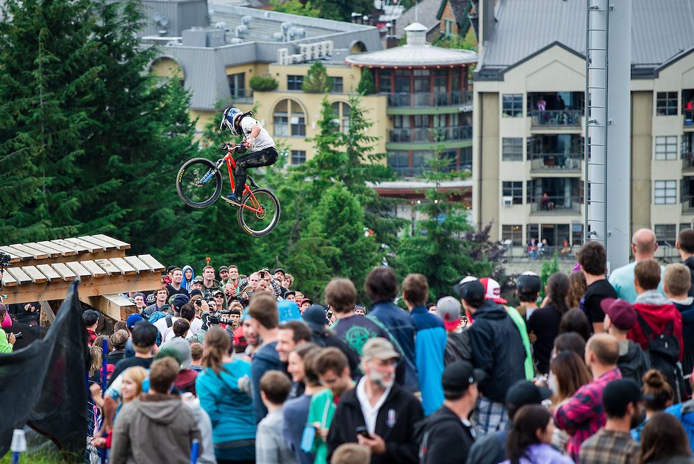 Above the crowd. Red Bull Joyride, Crankworx, Whistler, BC.