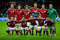 COPENHAGEN, DENMARK - Sunday, October 11, 2015: Denmark squad lined up for team photo before the friendly game against France at Parken Stadium. (Pic by Lexie Lin/Propaganda)