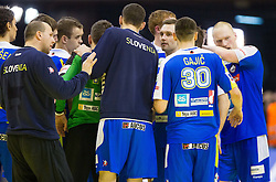 Players of Slovenia after the handball match between France and Slovenia in  Main Round of 10th EHF European Handball Championship Serbia 2012, on January 22, 2012 in Spens Hall, Novi Sad, Serbia. France defeated Slovenia 28-26. (Photo By Vid Ponikvar / Sportida.com)
