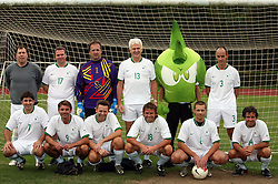 "Group photo of ""Famous Slovenians"" at friendly football game between famous Slovenians at day of Fair play, on September 21, 2008 in Kodeljevo, Ljubljana, Slovenia. (Photo by Vid Ponikvar / Sportal Images)"