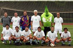 "Group photo of ""Famous Slovenians"" at friendly football game between famous Slovenians at day of Fair play, on September 21, 2008 in Kodeljevo, Ljubljana, Slovenia. (Photo by Vid Ponikvar / Sportal Images)"