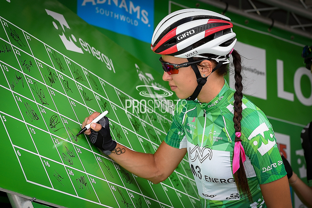Katarzyna Niewiadoma (POL) riding for WM3 Pro Cycling signs-on  during the OVO Energy Women's Tour, London Stage, at Regent Street, London, United Kingdom on 11 June 2017. Photo by Martin Cole.