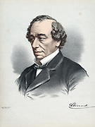 Benjamin Disraeli, 1st Earl of Beaconsfield (1804-81) British Conservative statesman. Tinted lithograph published London c1880