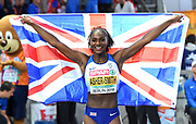 Dina Asher-Smith (GBR) poses with British flag after winning the women's 200m in 21.89  in the European Championships in Berlin, Germany, Friday, August 11, 2018. (Jiro Mochizuki/Image of Sport)