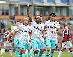 Andre Ayew of West Ham United celebrates scoring his sides second goal - Mandatory by-line: Jack Phillips/JMP - 21/05/2017 - FOOTBALL - Turf Moor - Burnley, England - Burnley v West Ham United - Premier League