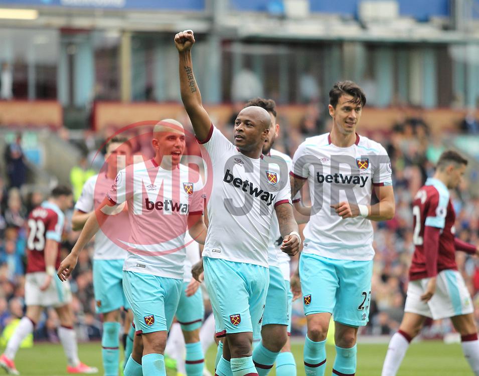 Andre Ayew of West Ham United celebrates scoring his sides second goal - Mandatory by-line: Jack Phillips/JMP - 21/05/2017 - FOOTBALL - Turf Moor - Burnley, England - Burnley v West Ham United - Premier League
