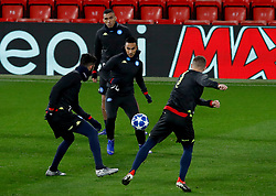 Napoli's Adam Ounas during the training session at Anfield, Liverpool.