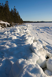Ice on the shore of Thompson Island in Maine's Acadia National Park.