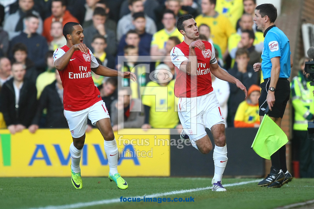 Picture by Paul Chesterton/Focus Images Ltd.  07904 640267.19/11/11.Robin Van Persie scores his sides 2nd goal and celebrates during the Barclays Premier League match at Carrow Road stadium, Norwich.