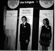 03/01/1975.01/03/1975.3rd January 1975.The Aer Lingus Young Scientist Exhibition at the RDS, Dublin...Picture shows the Young Scientist of the Year Noel Boyle and the runner-up girl (name unknown).  ..