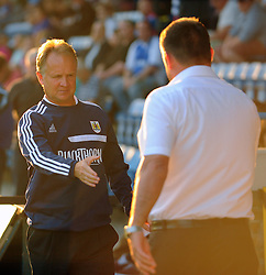 Bristol City Head coach, Sean O'Driscoll shakes hands with Gillingham's Manger Martin Allen  - Photo mandatory by-line: Seb Daly/JMP - Tel: Mobile: 07966 386802 06/08/2013 - SPORT - FOOTBALL - Priestfield Stadium - Gillingham -  Gillingham V Bristol City - Capital One Cup - First Round