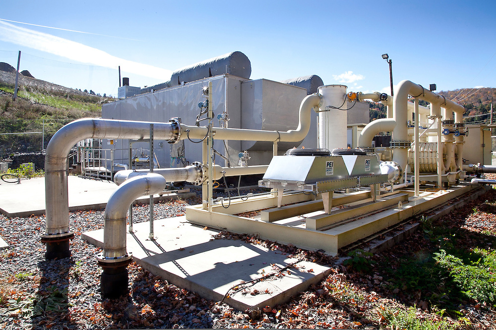 Landfill methane gas powered electricity generating plant at sanitary landfill.  Example of using waste to create electrical energy