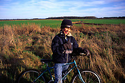 ARM475 Child on country bike ride Butley Suffolk England
