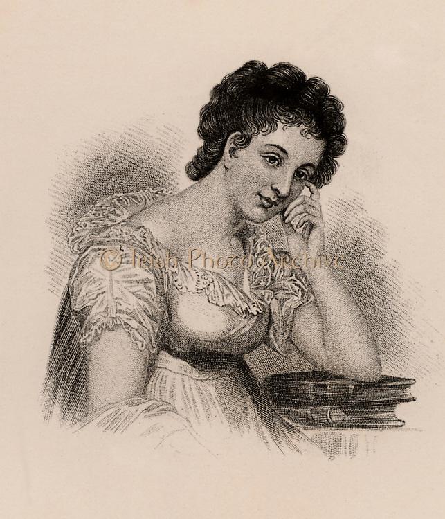 Maria Edgeworth (1767-1849) Anglo-Irish novelist. Author of 'Castle Rackrent' (1800) and 'Belinda' (1801).  Daughter of Richard Lovell Edgeworth, inventor and educationalist. Engraving.