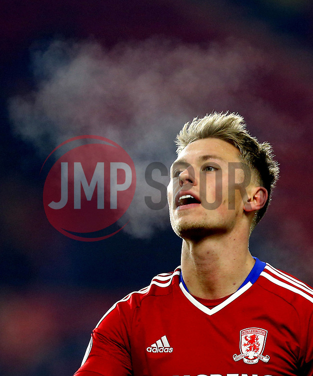 Viktor Fischer of Middlesbrough breath can be seen in the cold winters night in Middlesbrough - Mandatory by-line: Robbie Stephenson/JMP - 05/12/2016 - FOOTBALL - Riverside Stadium - Middlesbrough, England - Middlesbrough v Hull City - Premier League