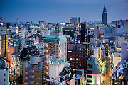 Tokyo, October 12 2014  - Shinjuku 's Kabukicho (entertainment and red light district) and Ntt Docomo skycraper in the background.