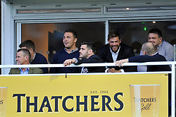 New Bath arrival Sam Burgess watches the match from the stand with George Ford, Rob Webber, Dave Attwood, Carl Fearns and David Wilson - Photo mandatory by-line: Patrick Khachfe/JMP - Mobile: 07966 386802 01/11/2014 - SPORT - RUGBY UNION - Bath - The Recreation Ground - Bath Rugby v London Welsh - LV= Cup