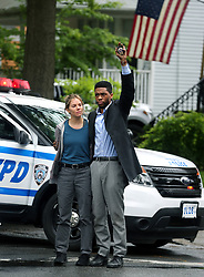 "Chadwick Boseman, Sienna Miller filming ""21 Bridges"" in Nyc. 14 May 2019 Pictured: Chadwick Boseman, Sienna Miller. Photo credit: SteveSands/NewYorkNewswire/MEGA TheMegaAgency.com +1 888 505 6342"